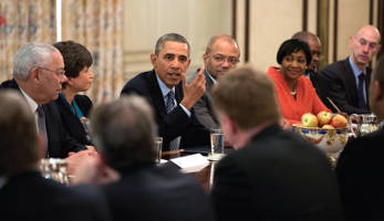 "President Barack Obama meets with foundation and business leaders to discuss ""My Brother's Keeper,"" an initiative to expand opportunity for young men and boys of color, in the State Dining Room of the White House, Feb. 27, 2014. (Offi cial White House Photo by Pete Souza)"