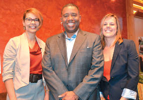Community leaders lead discussion on race at First Unitarian April 24: (L-r) Annette Miller, Alex Gee, and Erica Nelson