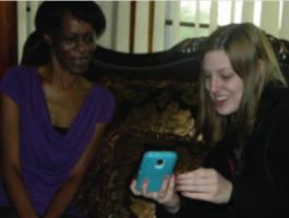 Willie Bedford's sister Carol Shaw with UWM journalism student Rachel Maidl.