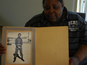 Willie's daughter with his photo.