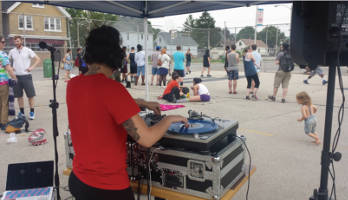 DJ Annalog selects from her Hip-Hop, EDM, and Trap musical catalog to provide the soundtrack for the first day of B-MKE's Bandsketball 2015 Tournament.