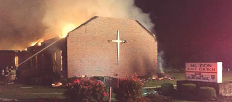 On Tuesday, a fire destroyed Mt. Zion Church AME Church in Greeleyville, S.C., the seventh church since the Charleston massacre. The FBI is investigating the possibility of lightning having started it.