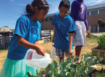 Two Vieau School students use recycled milk jugs to drench some thirsty plants on a sunny afternoon.