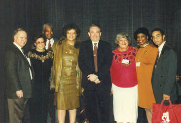 Moose Speros, administrator Division of Tourism, Carole Geary, Victor Welch, Valarie Daniels-Carter, Governor Tommy Thompson, Martha Toran, Sherri Hill and William Martin. Photo by Urban Media News.