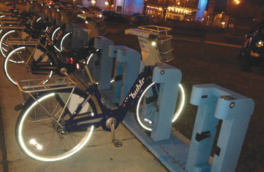 A Bublr Bike station one block West from the Zeidler Building. Photo by Dylan Deprey.