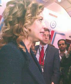 Democratic National Chair Debbie Wasserman Schultz interviewed in spin room. Photo by Mrinal Gokhale.