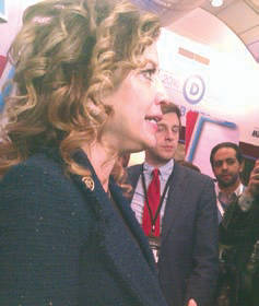 Democratic National Chair Debbie Wasserman Schultz interviewed in spin room. Photo by Mrinal Gokhale.