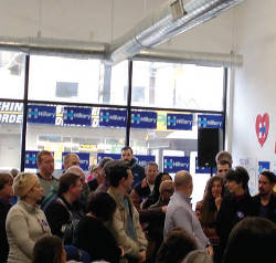 Chelsea Clinton speaks to a group of supporters during her three city trip. Photo by Dylan Deprey.