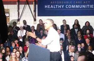 President Obama speaks on the importance of health insurance. Photo by Mrinal Gokhale.