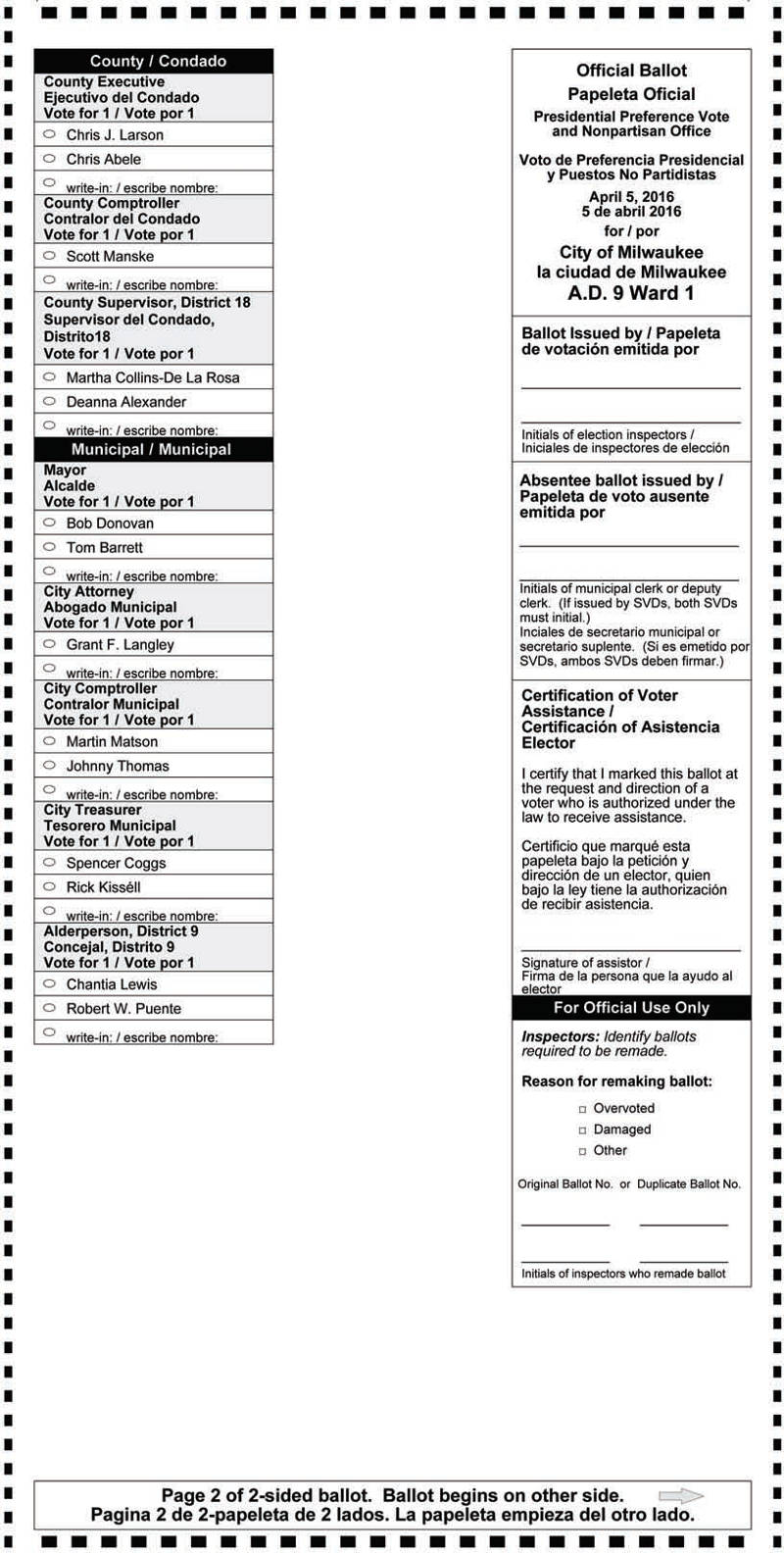 Notice of Spring Election and Presidential Preference Vote