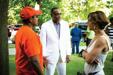 Common Council President Ashanti Hamilton and Rahim Islam President/CEO of Universal Companies being interviewed by international media crew from Sweden. (Photo by Parkhill Media)