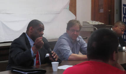 Demond Means and Chris Abele taking questions at an informal OSPP meeting at St. Matthews CME Church. (Photo by Karen Stokes)