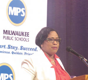 Dr. Darienne Driver addresses students at Milwaukee School of Languages (Photo by Karen Stokes)
