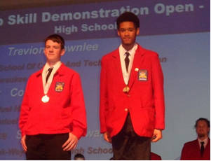 """Trevion Brownlee (right)  took 1st place in the Job Skill Demonstration category describing the """"Development of an Aquaponics System."""""""