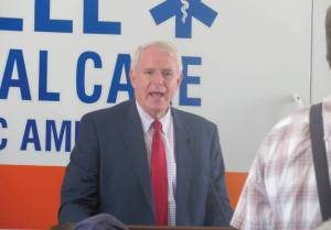 Mayor Tom Barrett talking about Earn and Learn at Bell Ambulance at 50th anniversary celebration for founder Rick Zehetner (Photo by Karen Stokes)