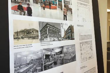A board showing what early 1900's department stores looked like and the renderings of the new Forest Home Library's open space concept. Photo By Dylan Deprey.