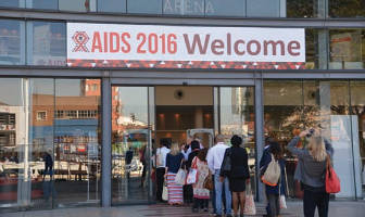 Delegates enter the door at the International AIDS Conference - Durban, South Africa. (Photo by Ann Ragland)