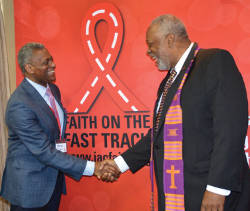 Jesse MilanJr. left and Rev. Edwin C. Sanders II. (Photo by Ann Ragland Black AIDS Institute.)