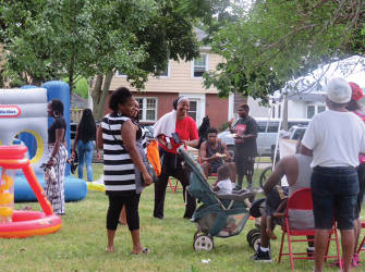 Residents at the Block party. (photo by Karen Stokes)