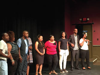 """The """"Blame"""" cast taking their first bow after performing a preview show at the In Tandem Theater. ( Photo by Dylan Deprey)"""
