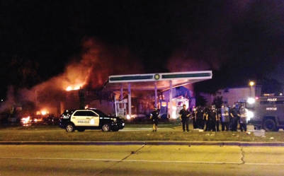 BP gas station on the corner of Sherman and Burleigh set on fire Saturday night after the shooting of Sylville Smith.