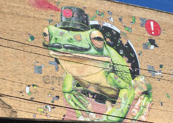 A giant frog looks over the Black Cat Alley. (Photo by Dylan Deprey)