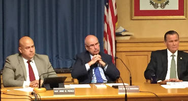 Ald. Jose Perez, Ald. Mark Borkowski and Ald. Bob Donovan listen to local organizations during the first of five special Public Safety Committee meetings (photo by Dylan Deprey)