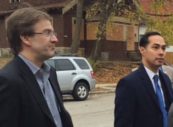 County Executive, Chris Abele and HUD Secretary Julian Castro about to tour an abandoned house in the Sherman Park neighborhood. (Photo by Karen Stokes)