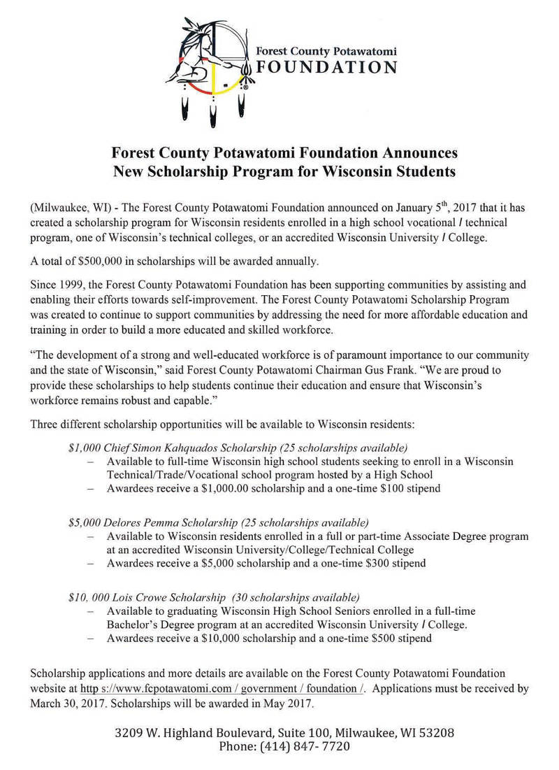 forest-county-potawatomi-foundation-announces-new-scholarship-program-wisconsin-students