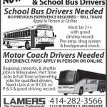 Positions Open: Motor Coach and School Bus Drivers at Lamers Bus Lines