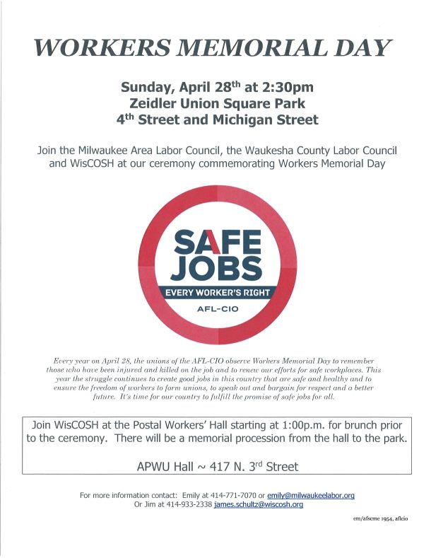 Workers Memorial Day 2019 Milwaukee Area Labor Council Afl Cio