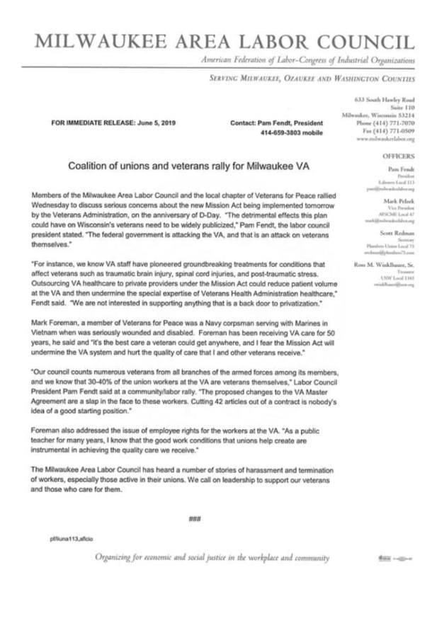 Milwaukee VA, AFGE 3, Mission Act, Master Agreement