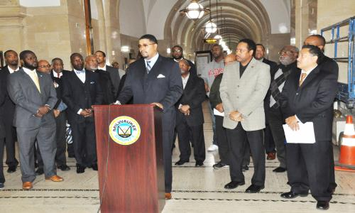 County supervisor Khalif Rainey held a press conference October 28 to announce his introduction of a resolution calling for the creation of an office on African American Affairs to study ways to improve the quality of life for African Americans in Milwaukee. Sup. Rainey was joined by Alderman Willie Wade, State Rep. Leon Young and other community leaders who support the resolution.