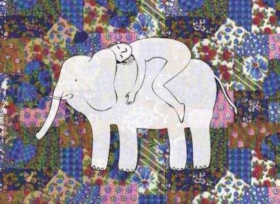 Mujer sobre elefante con fondo patchwork. Ilustración. Por Valeria Zelaya Lacayo.