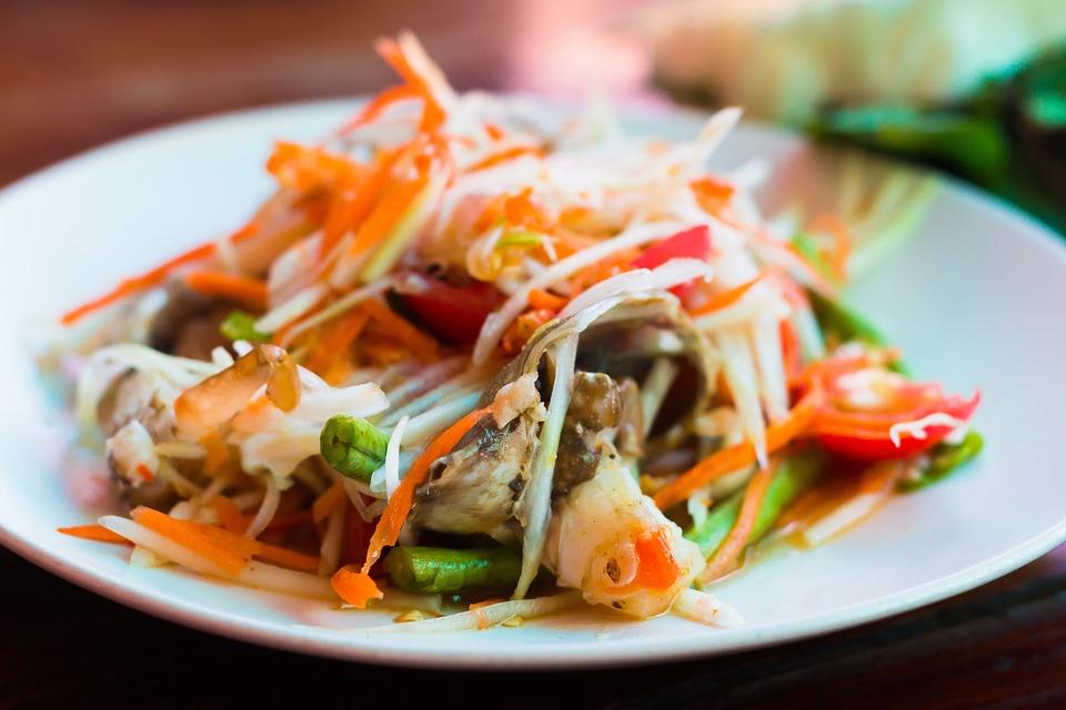 Crap Thai Somtam Spicy Food Asian Tasty Papaya