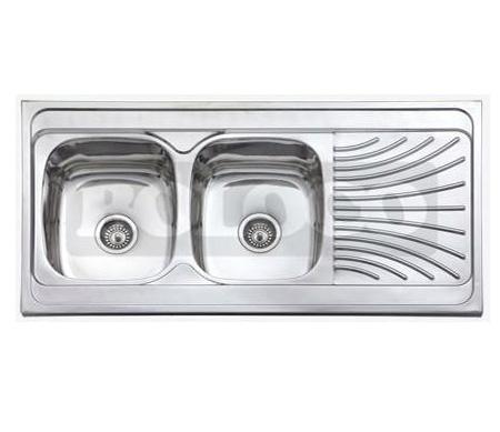 Dvodelna nasadna sudopera sa ocedjivacem izradena od nerdajuceg plemenitog celika.
