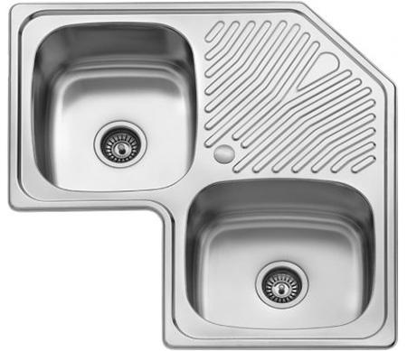 Ugaona dvodelna ugradna sudopera izradena od nerdajuceg plemenitog celika.