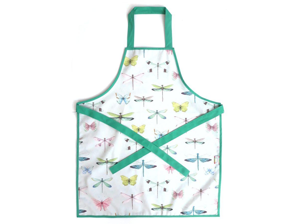 full organic cotton apron dragonflies