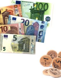 43 euro bills and coins