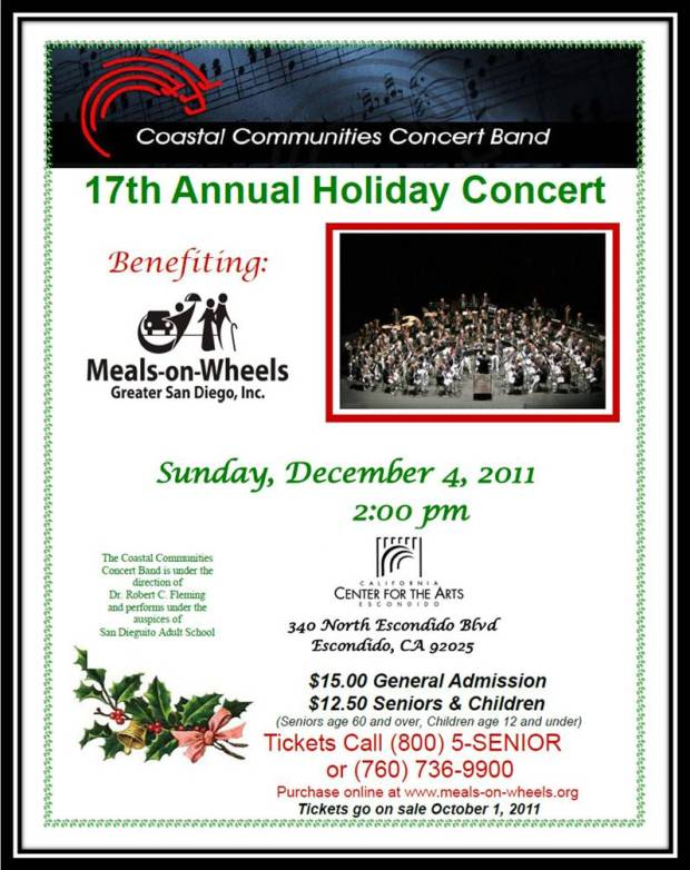 flyer for Coastal Communities Band Holiday Concert