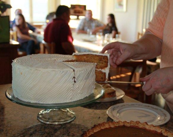 carrot cake and Cutco knife