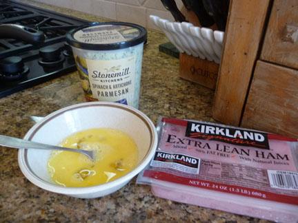 Eggs, ham and Spinach Parmesan Dip
