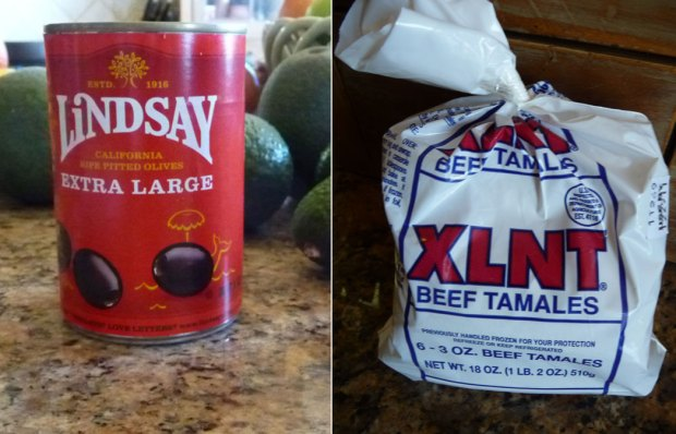 Lindsay olives and XLNT tamales