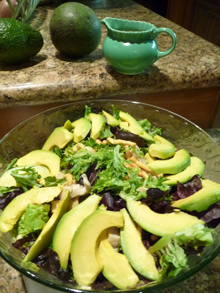 Chinese chicken salad with avocado