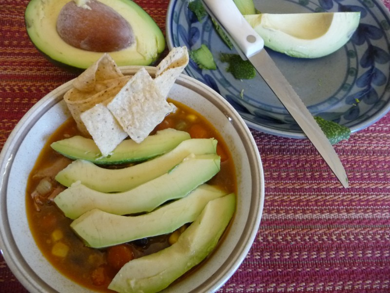 Southwest Chicken Soup with avocados