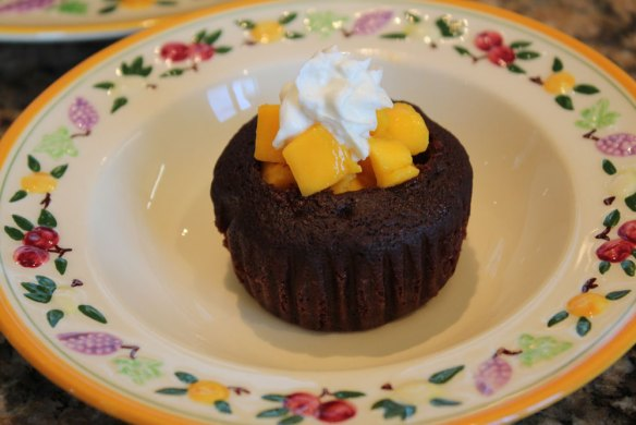 chocolate avocado cupcake with mango filling