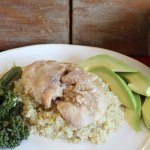 mango chicken on quinoa with avocado and broccolini
