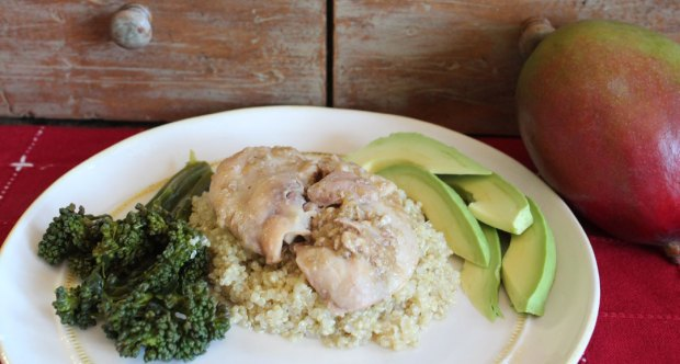 mango chicken on quinoa with avocado and broccolini