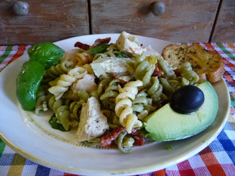 warm Mediterranean chicken pasta salad