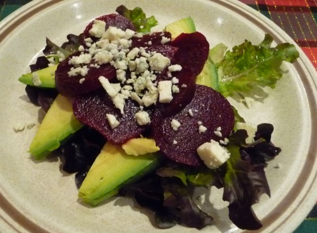baby beets with Fuerte avocados